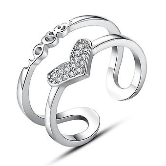 3PCS Silver plating Jewelry Retro Fashion Woman Hollow Size Adjustable Ring