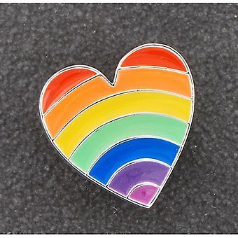Colorido pin de corazón plateado de arco iris