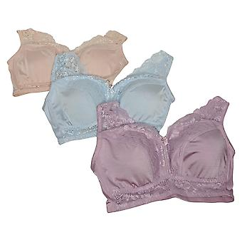 Rhonda Shear One 3-Pack Pin-Up Bra With Lace Back Detail Pink 730630