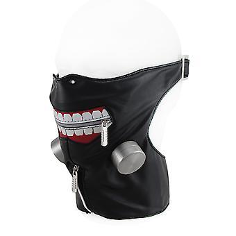 Lynlås stort smil justerbar halvt ansigt og hals maske w/imiteret luftfiltre