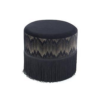 Ottoman - Modern - Black - Polyester - 41cm x 41cm x 39cm