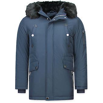 Lång Parka Coat - Med päls krage - Blå