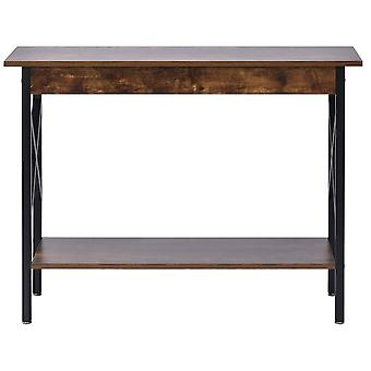 Dark Brown 2-tier Console Table With Storage Shelf And Strong Legs