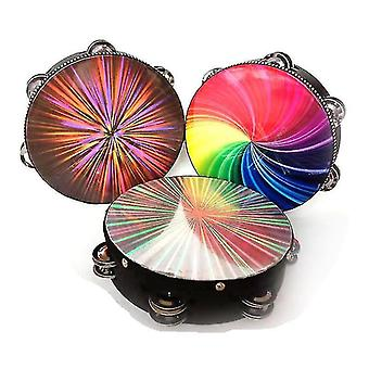 """Drum kits 8/10"""" wooden radiant tambourine handbell hand drum with double row jingles reflective drums head"""