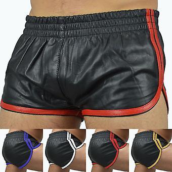 Sexy Männer Punk Pu Leder Slim Motorrad Hose Einfarbig Plus Size Shorts Soft Boxershorts Männliche Höschen Shorts