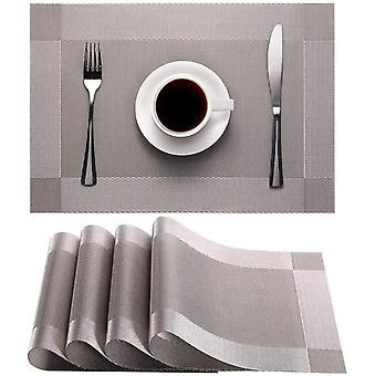Tischset, rutschfest waschbare PVC-Tischmatte (silbergrau)