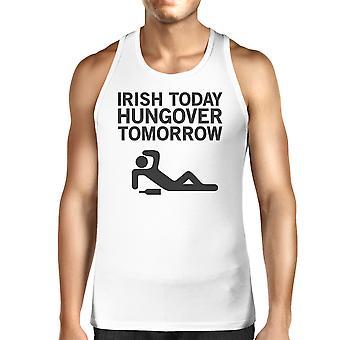 アイルランド今日二日酔い明日メンズ ホワイト St パトリック日タンク トップ