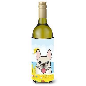 French Bulldog Summer Beach Wine Bottle beverage Insulator Hugger