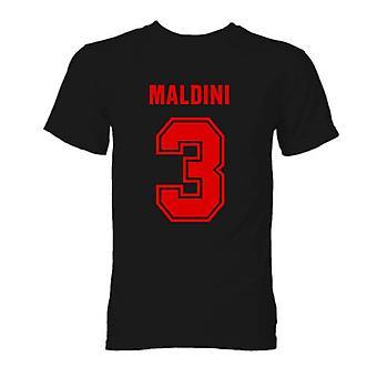 पाओलो Maldini एसी मिलान हीरो टी शर्ट (काला)