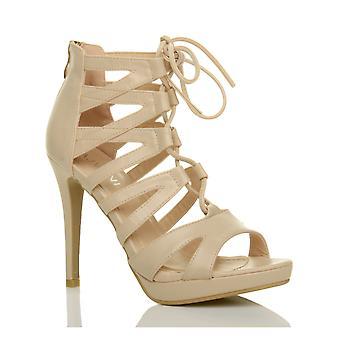 Ajvani mujer de tacón alto plataforma con encaje zip enjaulado ghillie sandalias zapatos
