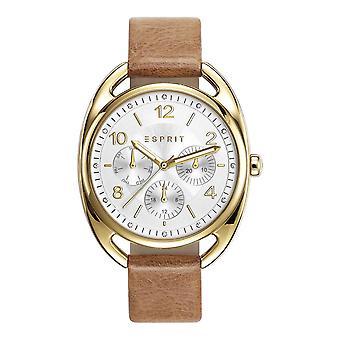 Esprit Damen Uhr Armbanduhr Annie Leder Gold ES108172002