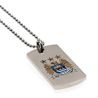 Manchester City Colore Crest Dog Tag & Catena Ce
