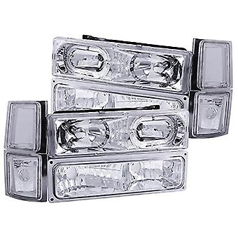 Anzo USA 111101 Chevrolet Crystal Halo Clear with Signal/Side Marker Lights Headlight Assembly - (Sold in Pairs)