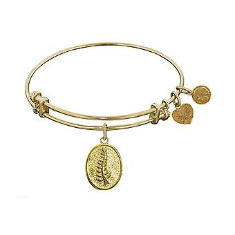 "Stipple Finish Brass Faith and Trust Angelica Bangle Bracelet, 7.25"""
