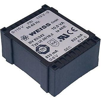 Weiss Elektrotechnik 83/248 PCB mount transformer 1 x 230 V 2 x 21 V AC 10 VA 238 mA