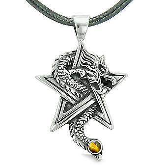 Mot Dragon magiske beskyttelse krefter Stjernen pentagram Amulet Tiger øye anheng skinn halskjede