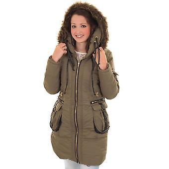 Futra damskie z kapturem pikowany płaszcz kurtka zimowa Puffer wyściełane pocztowy długi kobiet