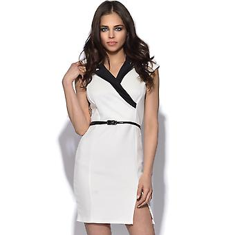 Collared Cross Over Bodycon Kleid