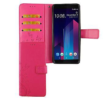 HTC U12 + Plus telefon fall skyddsfodral lock flip case kort fack rosa