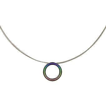 Ti2 Titanium Retro Small Pendant and Wire Cable Necklace - Multi-colour