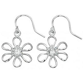 Beginnings Cubic Zirconia Centre Flower Drop Earrings - Silver/Clear