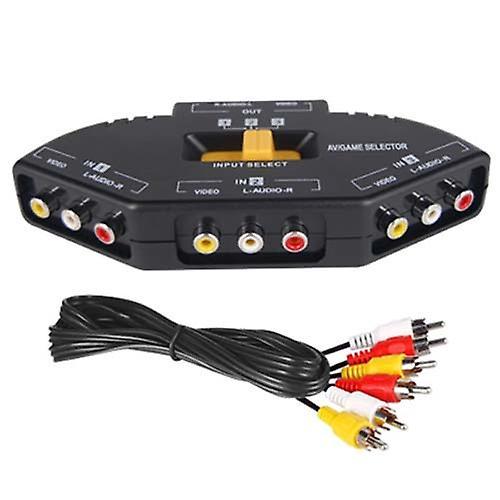 DIGIFLEX 3 Port AV Audio RCA Phono Selector Switch Connect Xbox, PS2, DVD