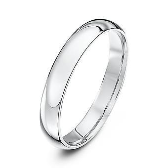 Star Wedding Rings 9ct White Gold Light Court Shape 3mm Wedding Ring