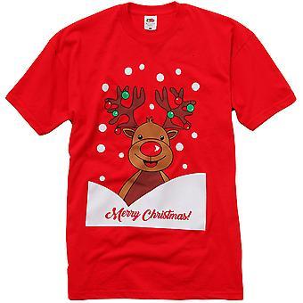 Christmas Mens & Womens Festive Rudolph Crew Neck T Shirt