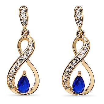 Ah! Jewellery Ribbon Twist Earrings With Sapphire Pear & Paved Crystals from Swarovski