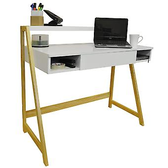 Lean - Retro Bureau / Computer Workstation / kaptafel - Pine / White