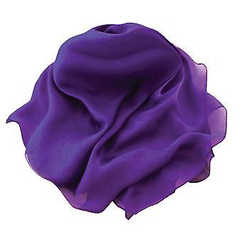 Eternal Collection Plain Purple Oblong Pure Silk Chiffon Scarf