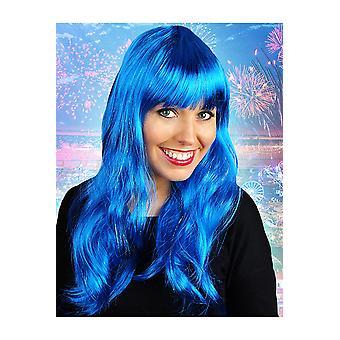 Lunga parrucca parrucche con blu di frangia