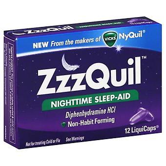 Vicks ZzzQuil Nighttime Sleep-Aid LiquiCaps 12 likvider boks