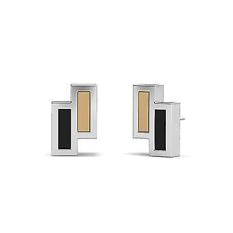 Wofford College Sterling Silber asymmetrische Emaille Ohrstecker In Tan und schwarz