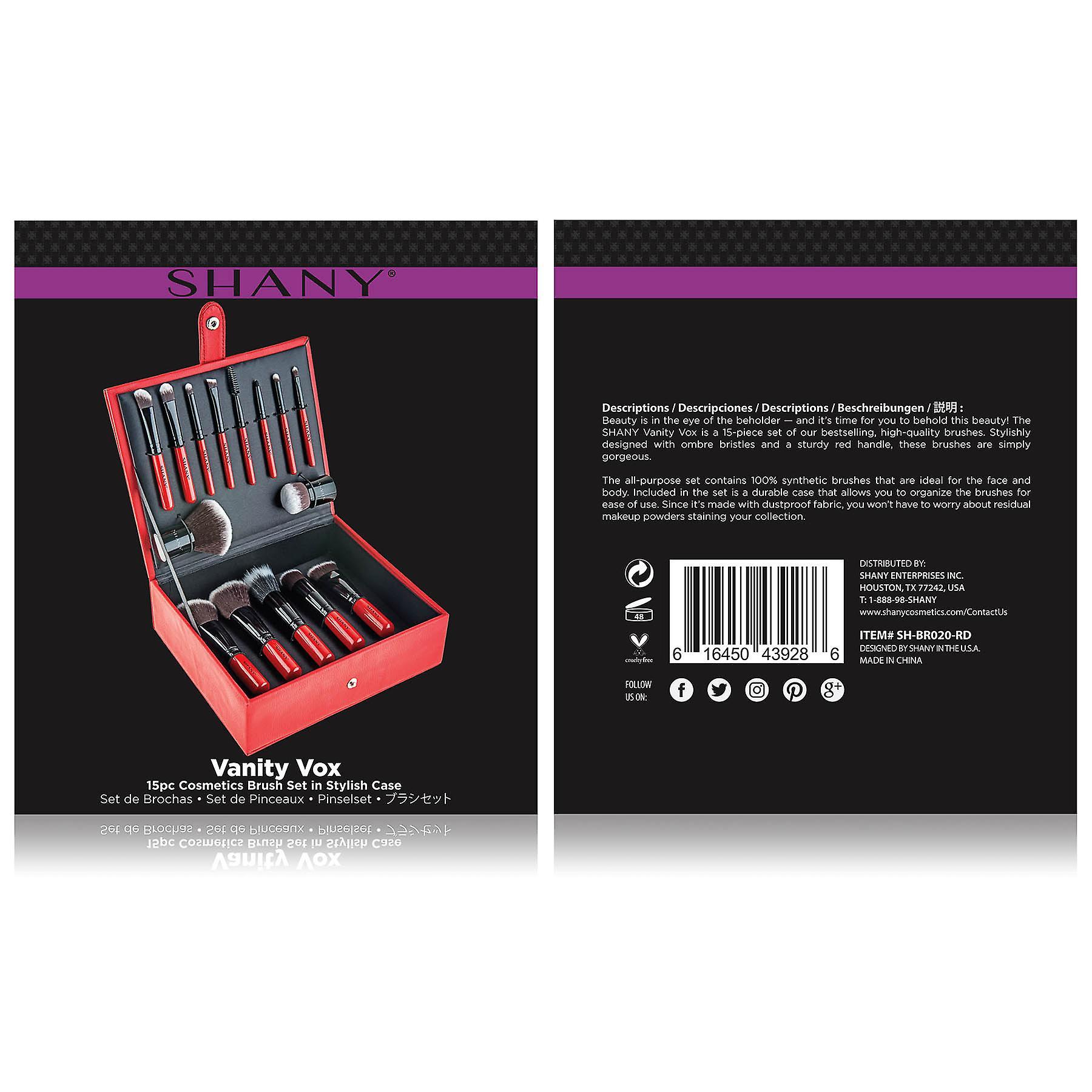 SHANY Vanity Vox- 15 Pc Premium Cosmetics Brush Set with Stylish Storage Box and Stand