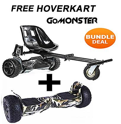 "GRATIS Suspension Hoverkart med 8,5 ""Camo alla terräng Bluetooth Segway Hoverboard - Bundle Deal"