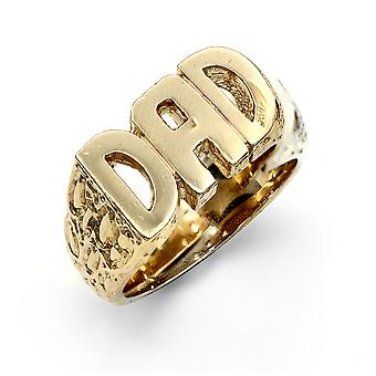 Jewelco London mäns solid 9ct gult guld graverade sidor pappa ring