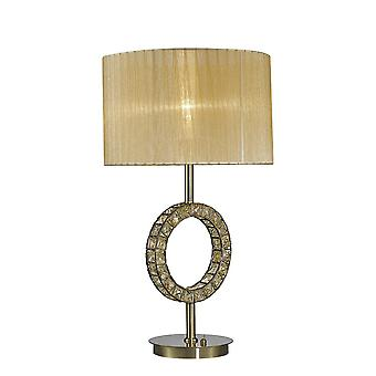 Diyas Florence Round Table Lamp With Soft Bronze Shade 1 Light Antique Brass/Crystal