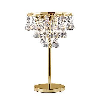 Diyas Atla Lampa stołowa 3 Lekkie francuskie złoto/kryształ