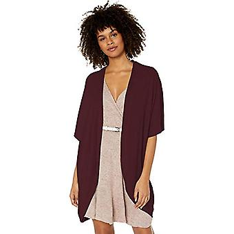 A. Byer Open-Front Cocoon Cardigan Sweater (Junior's),, Raisin, Size Large