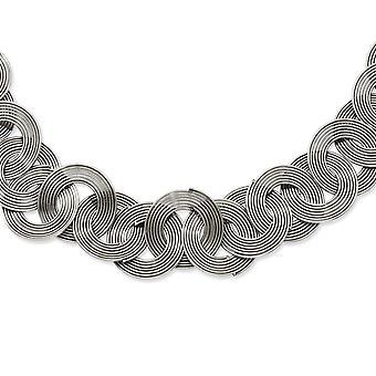 Edelstahl poliert Fancy Hummer Verschluss mehrere Cirlces 19inch Halskette 19 Zoll Schmuck Geschenke für Frauen
