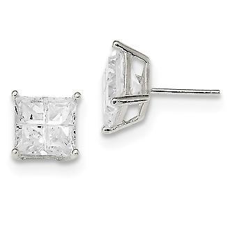 925 Sterling Silver Post Boucles d'oreilles Panier réglage 8mm Square CZ Cubic Zirconia Simulated Diamond Basket Set Stud Boucles d'oreilles