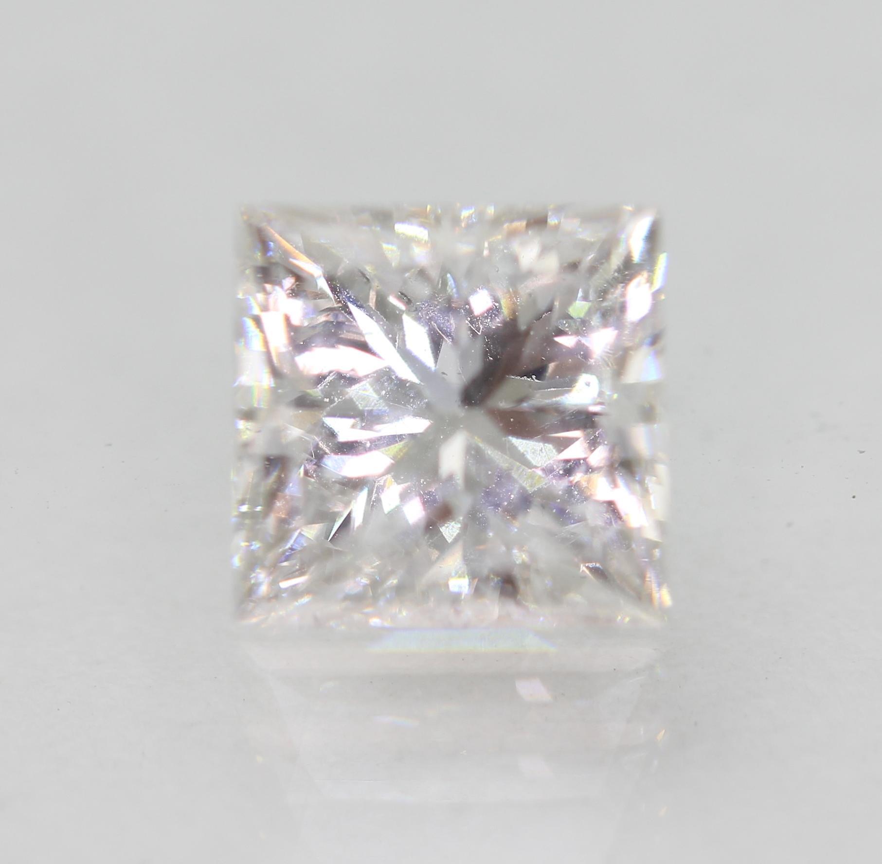Certified 1.09 Carat D VVS2 Princess Enhanced Natural Diamond 5.66x5.53mm 2VG