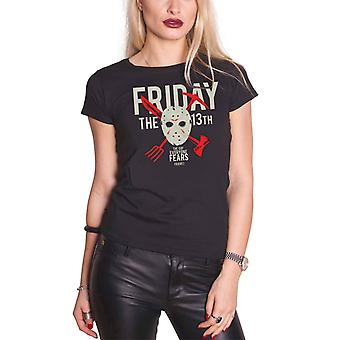 Friday The 13th T Shirt Day Of Fear new Official Womens Skinny Fit Black