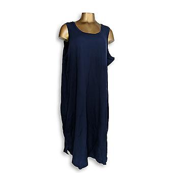 Isaac Mizrahi Live! Petite kjole 2XP Ærmeløs strik MIDI blå A352567