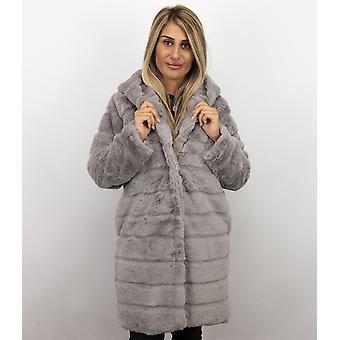 Imitation Fur Coat - Parka - Lila