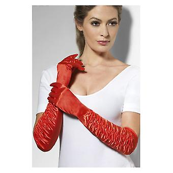 Womens Long Red Temptress Gloves  Fancy Dress Accessory