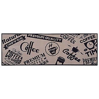 Carpet Boss Kitchen Runner Coffee Stamps Beige, Washable & non-slip, 50x150 cm