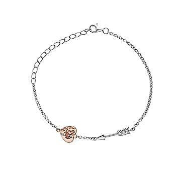 Hot Diamonds Sterling Silver Rose Gold Plate Cupid Accents Bracelet DL598
