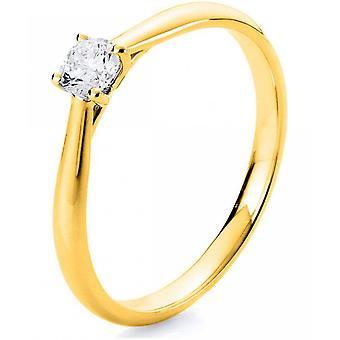 Diamantring-18K 750/-gul guld-0,23 CT. Størrelse 54